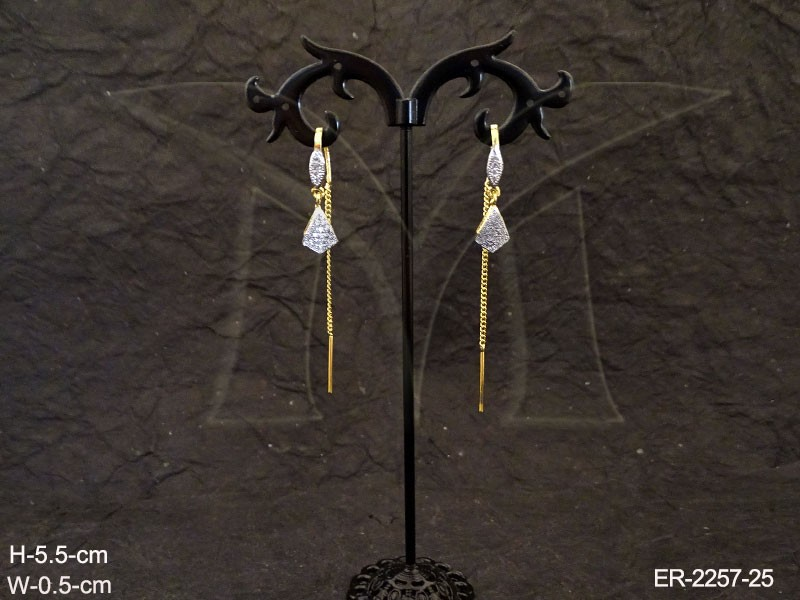 Latest Designe White Gold Sui Dhaga Ad Earrings Manek Ratna