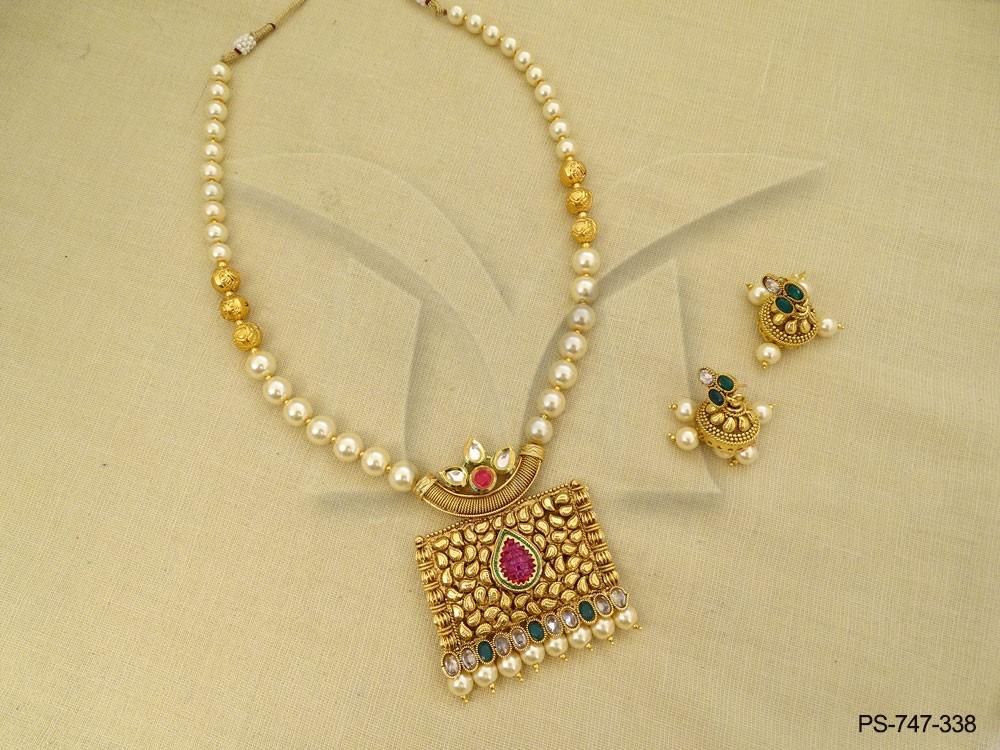 c47fc48079251 Chokor Paan Center Moti Beads Designer Antique Pendant Set | Manek Ratna