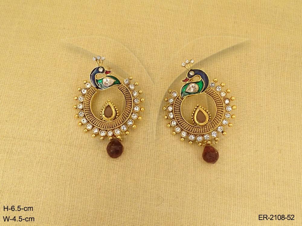 Peacock Chand Bali Style Antique Earrings | Manek Ratna
