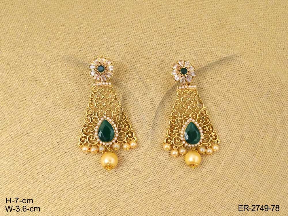 Long Rectangle Antique Earrings | Manek Ratna