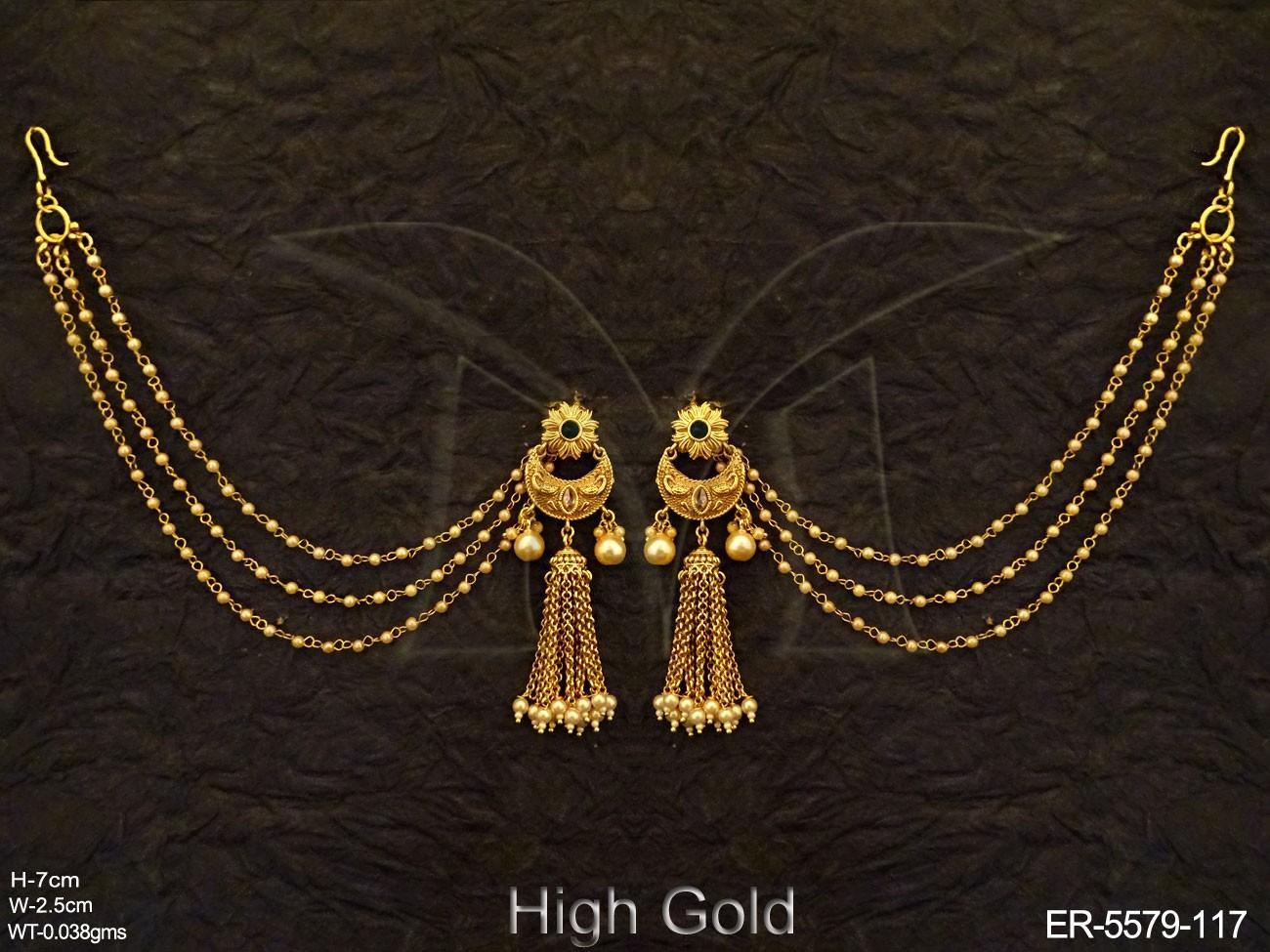 Chand Shape Bahubali Antique Earrings Earrings Copper