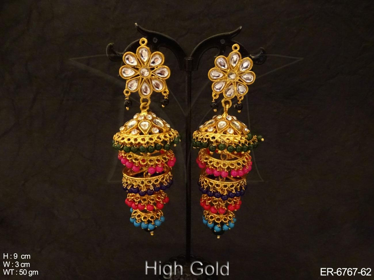 Five Step Coloring Jhumka Polki Earring - Earrings - Copper And ...