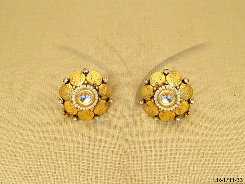 7eec4d788813f Laxmi Ji Goddess Temple Coin Earrings - Earrings - Copper And Brass ...