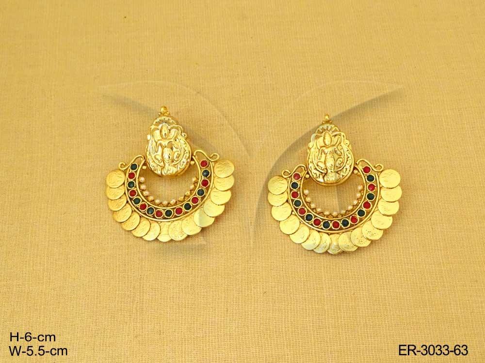 52357026bfb7b Laxmi Ji Coin Temple Earrings | Manek Ratna