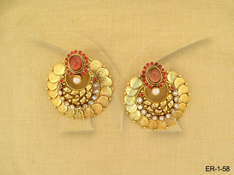 Round Style South Indian Coin Earrings Manek Ratna