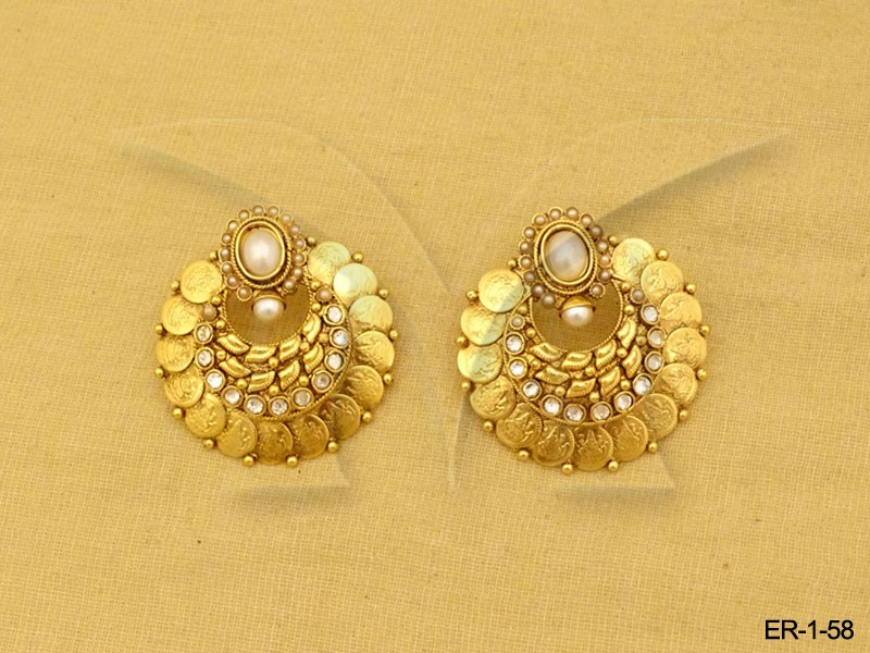 Round Style South Indian Coin Earrings
