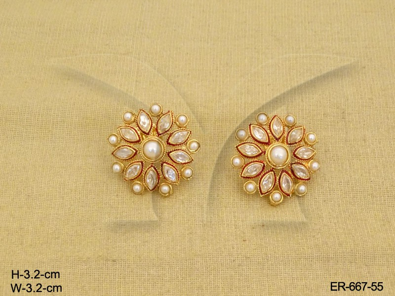 Latest Shine Flower Design Tops Antique Earrings | Manek Ratna