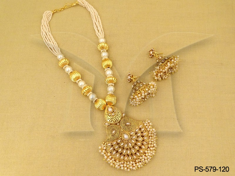 Aadha chand flower koyari leaf kemp style designer pendant set aadha chand flower koyari leaf kemp style designer pendant set mozeypictures Gallery