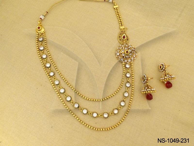 One side pendant tri layer necklace set manek ratna one side pendant tri layer necklace set mozeypictures Images