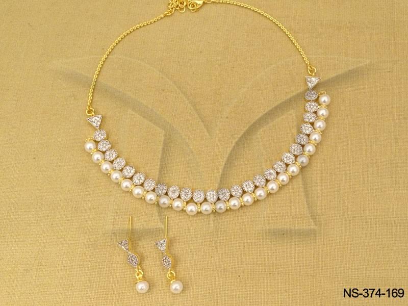 Pearl Moti Line Simple American Diamond Necklace   Manek Ratna