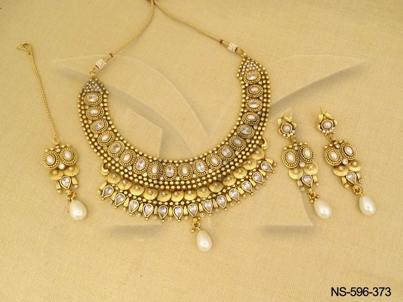 Gold Bridal Simple Medium Necklace Jewelry Antique Necklace Set ...