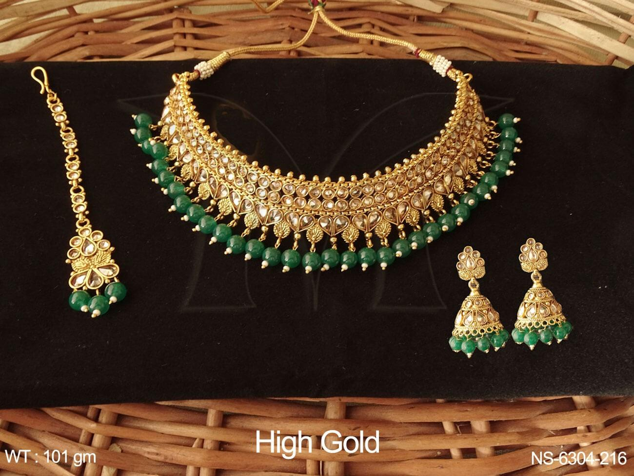 Traditional Coloring Beads Full Stone Bridal Polki Necklace ...