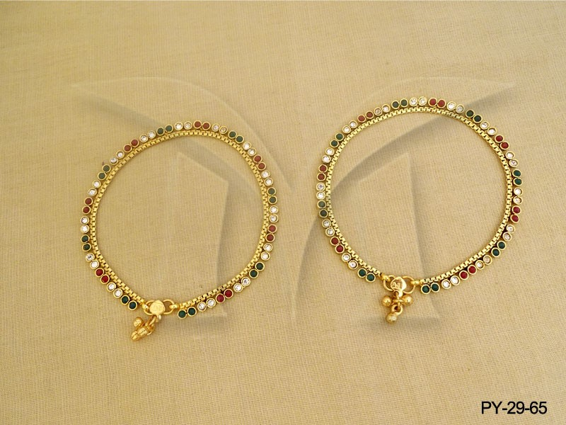 Delicate Gold Plated Anklets Indian Foot Jewelery Antique Payal ...