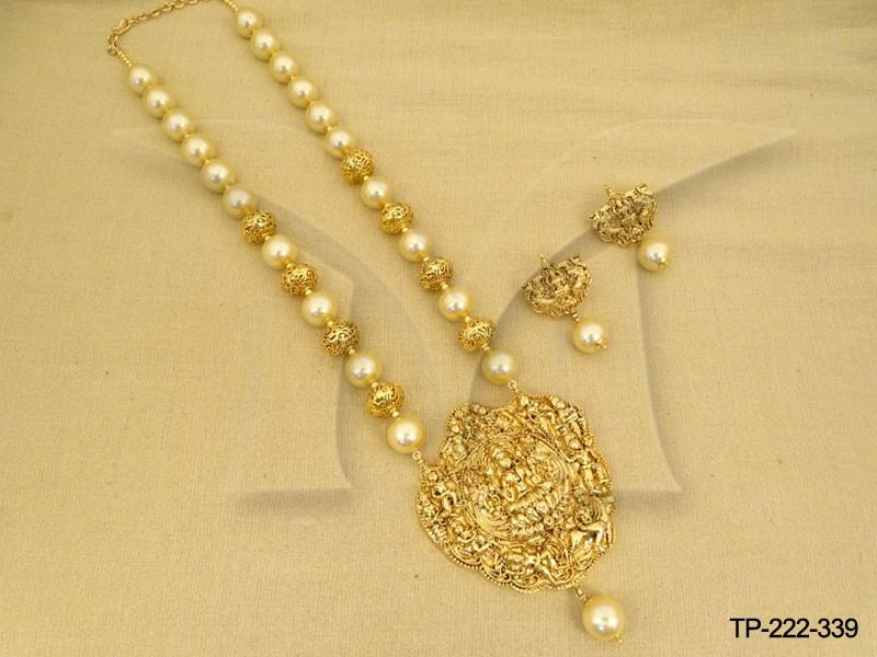 Moti beads kamal virajit laxmi ji temple pendant set manek ratna moti beads kamal virajit laxmi ji temple pendant set mozeypictures Gallery