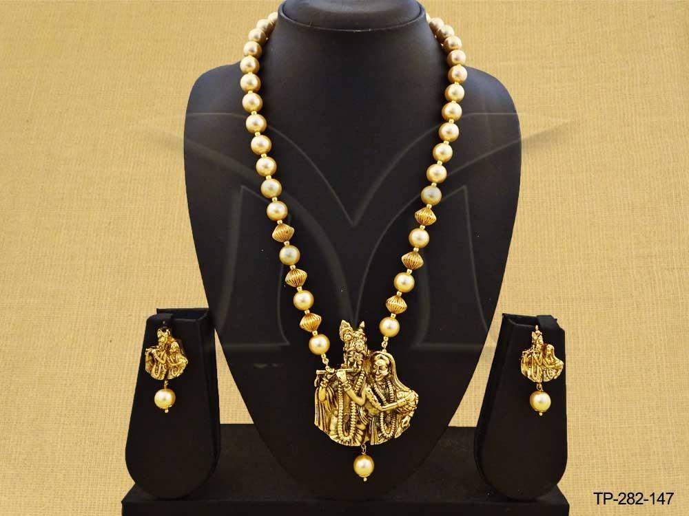 Beaded pearls radha krishna temple pendant set manek ratna beaded pearls radha krishna temple pendant set aloadofball Images